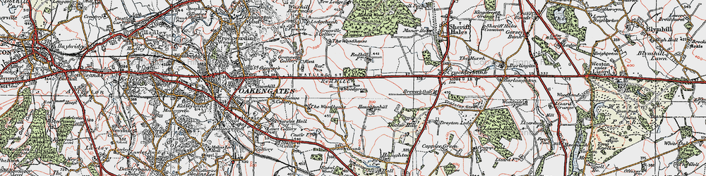 Old map of Woodhouse, The in 1921