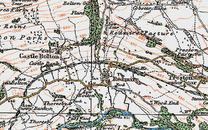 Old map of Redmire in 1925