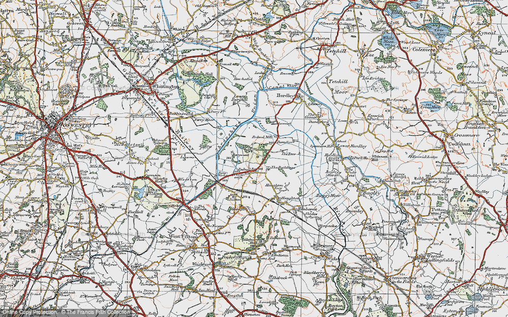 Old Map of Historic Map covering Woodhouse in 1921