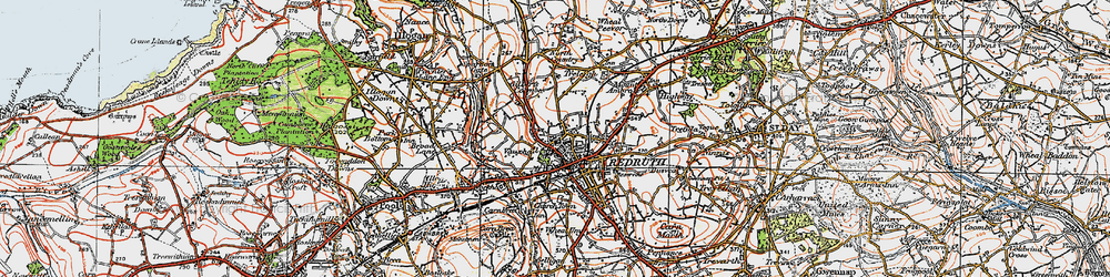 Old map of Redruth in 1919