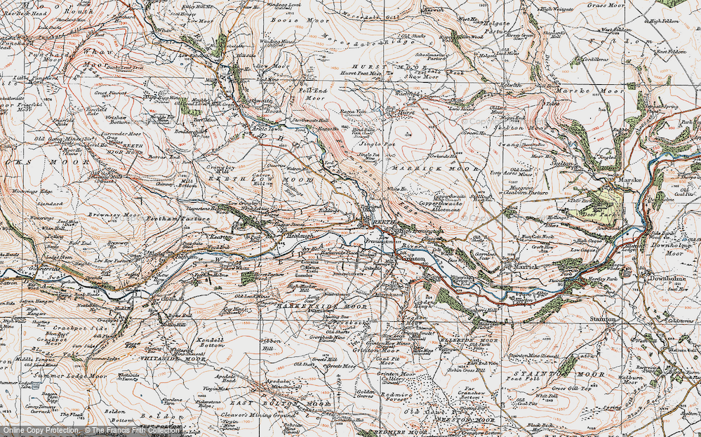 Old Map of Historic Map covering Swaledale in 1925