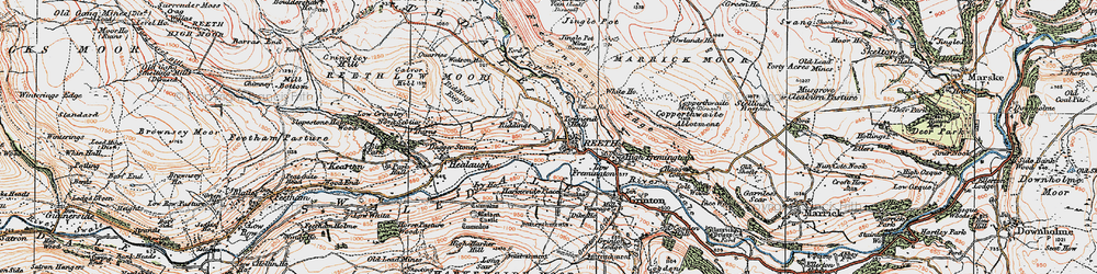 Old map of Reeth in 1925