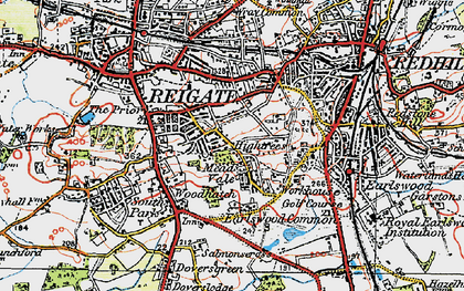 Old map of Reigate in 1920