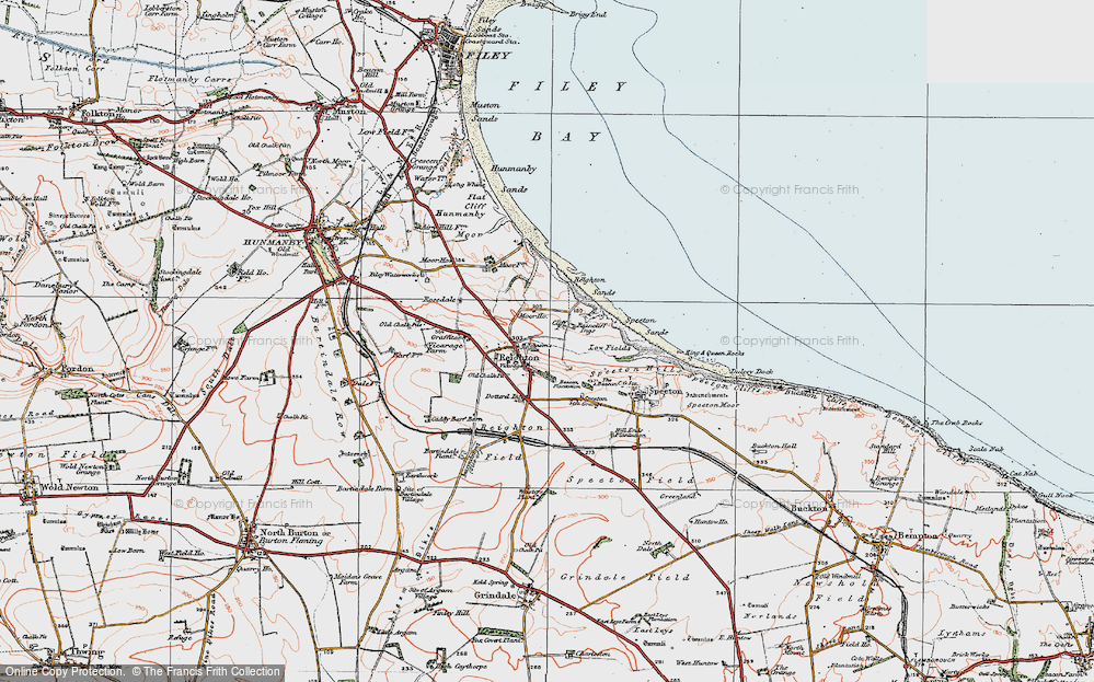 Old Map of Reighton, 1925 in 1925