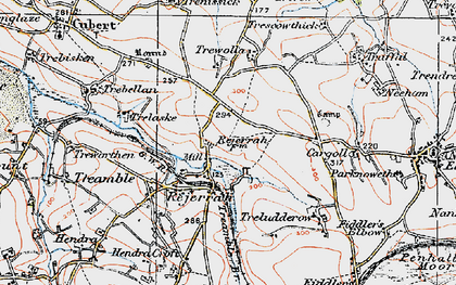 Old map of Rejerrah in 1919