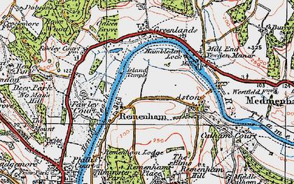 Old map of Remenham in 1919