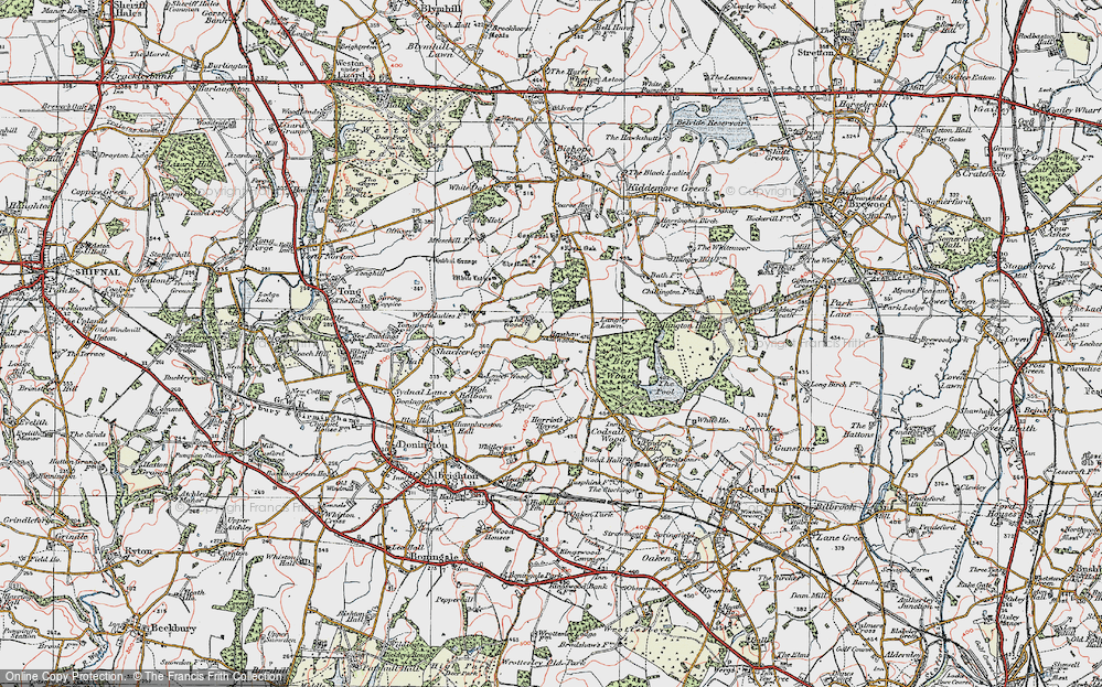 Old Map of Historic Map covering Wood Ho, The in 1921