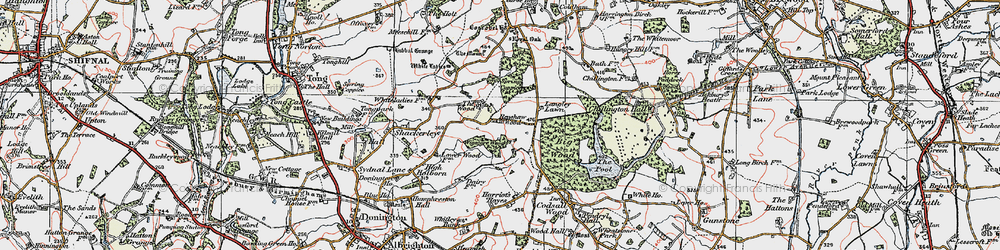 Old map of Wood Ho, The in 1921