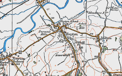Old map of Repton in 1921