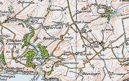 Old map of Rescassa in 1919