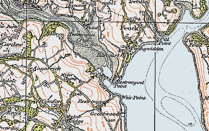Old map of Restronguet Passage in 1919