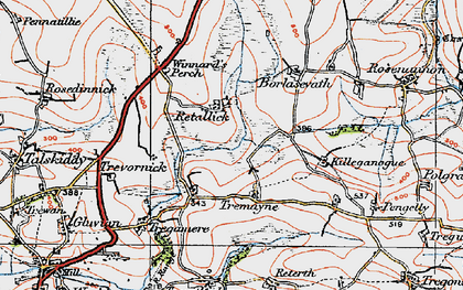Old map of Retallack in 1919