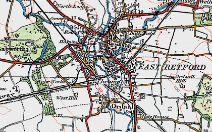 Old map of Retford in 1923