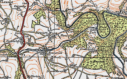 Old map of Rezare in 1919
