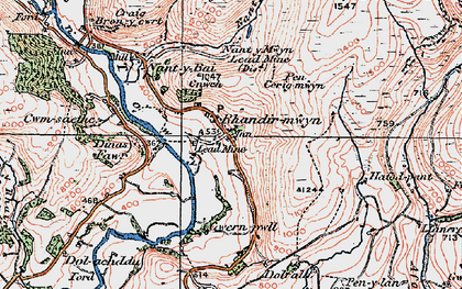 Old map of Afon Lwynor in 1923