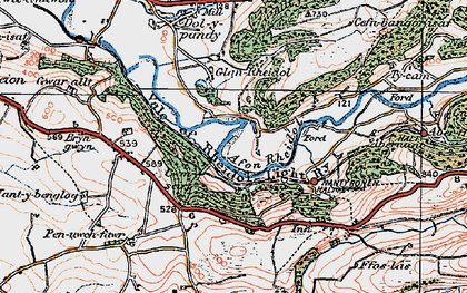 Old map of Rheidol in 1922