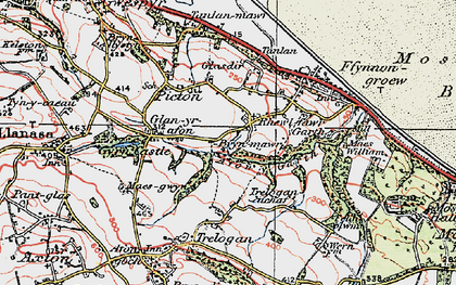 Old map of Afon y Garth in 1924