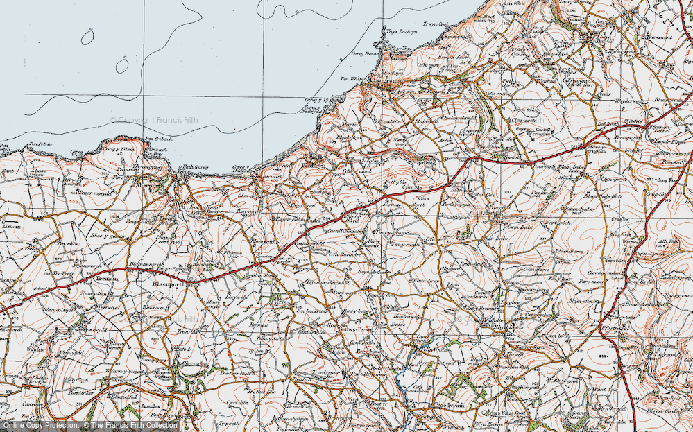 Old Map of Historic Map covering Allt y corde in 1923