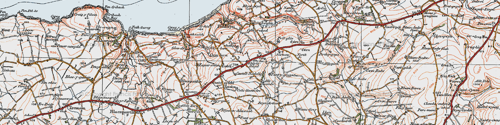 Old map of Allt y corde in 1923