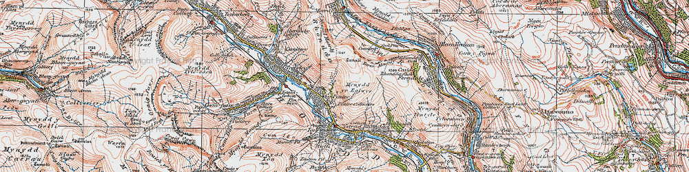 Old map of Rhondda in 1923