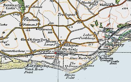 Old map of Rhoose in 1922