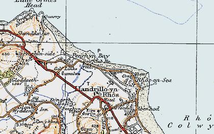 Old map of Rhôs-on-Sea in 1922