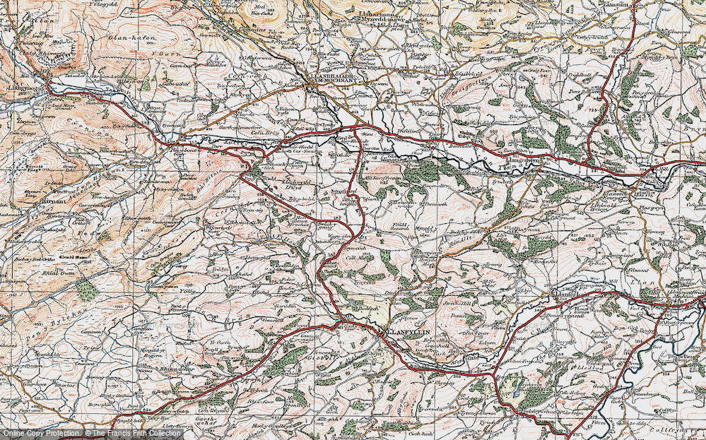 Old Map of Historic Map covering Aber Rhaeadr in 1921