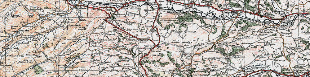 Old map of Abernaint in 1921