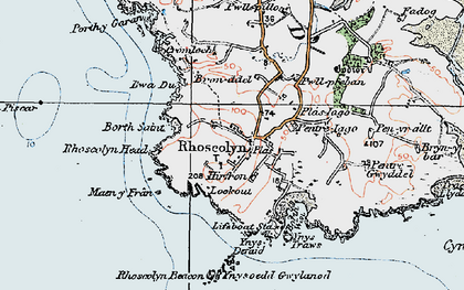 Old map of Rhoscolyn in 1922