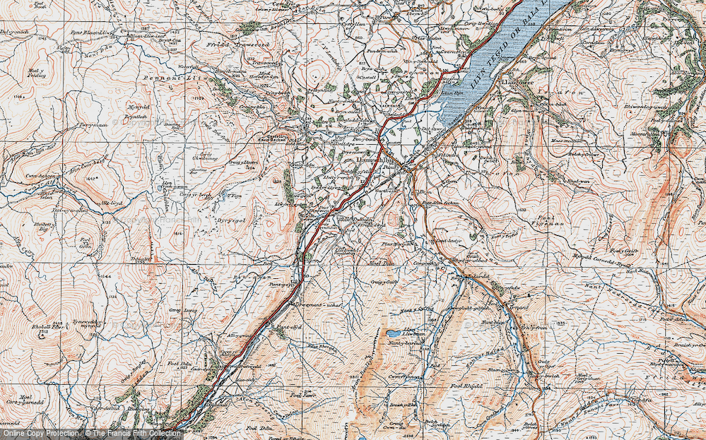 Old Map of Historic Map covering Afon Dyfrdwy in 1921