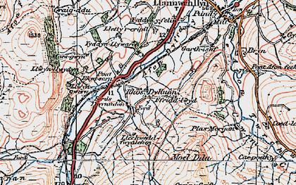 Old map of Afon Dyfrdwy in 1921