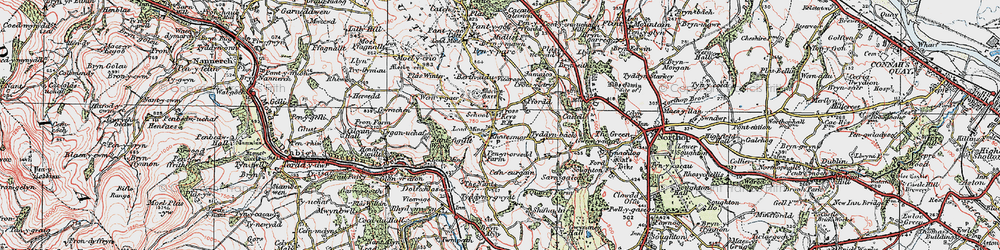 Old map of Rhosesmor in 1924