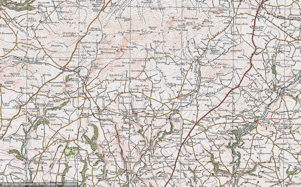 Old Map of Historic Map covering Afon Wern in 1922