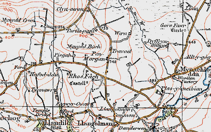 Old map of Afon Wern in 1922