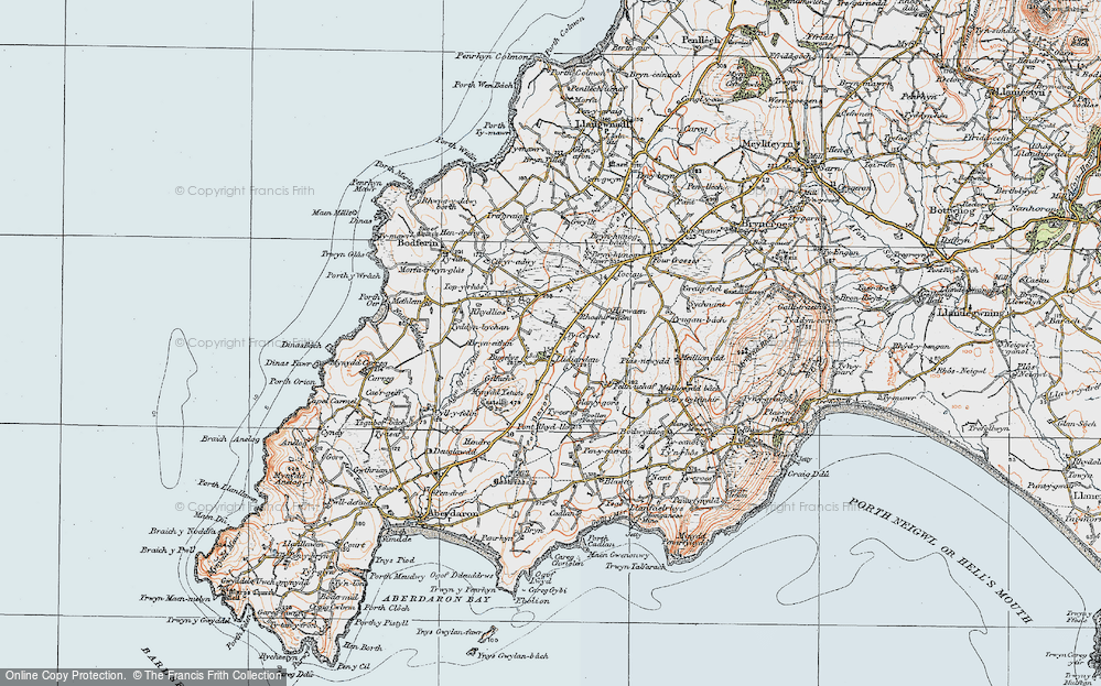 Old Map of Historic Map covering Afon Daron in 1922