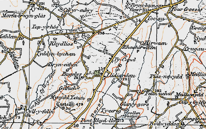 Old map of Afon Daron in 1922