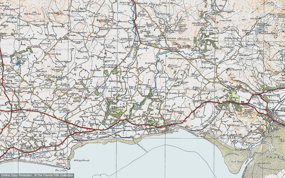 Old Map of Historic Map covering Afon Dwyfor in 1922