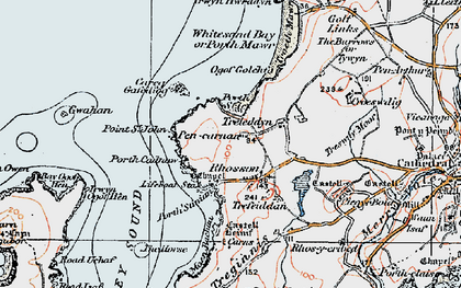 Old map of Whitesands Bay Porth-mawr in 1922