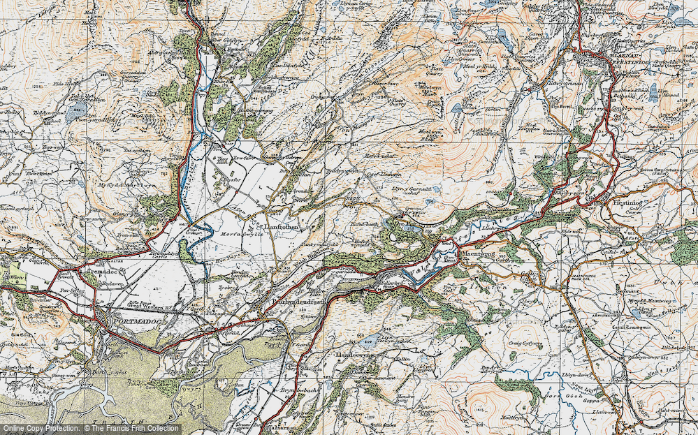 Old Map of Rhyd, 1922 in 1922