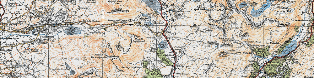 Old map of Y Garn in 1922