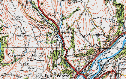Old map of Rhyd-y-fro in 1923