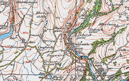 Old map of Banc Darren-fawr in 1923