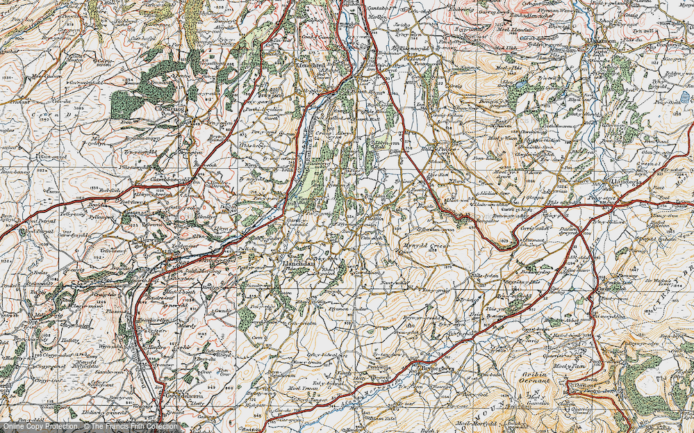 Old Map of Historic Map covering Afon Hesbin in 1921
