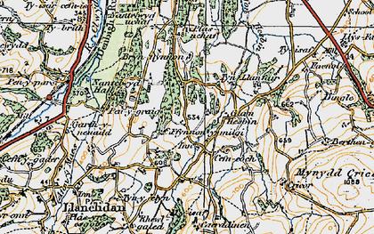Old map of Afon Hesbin in 1921