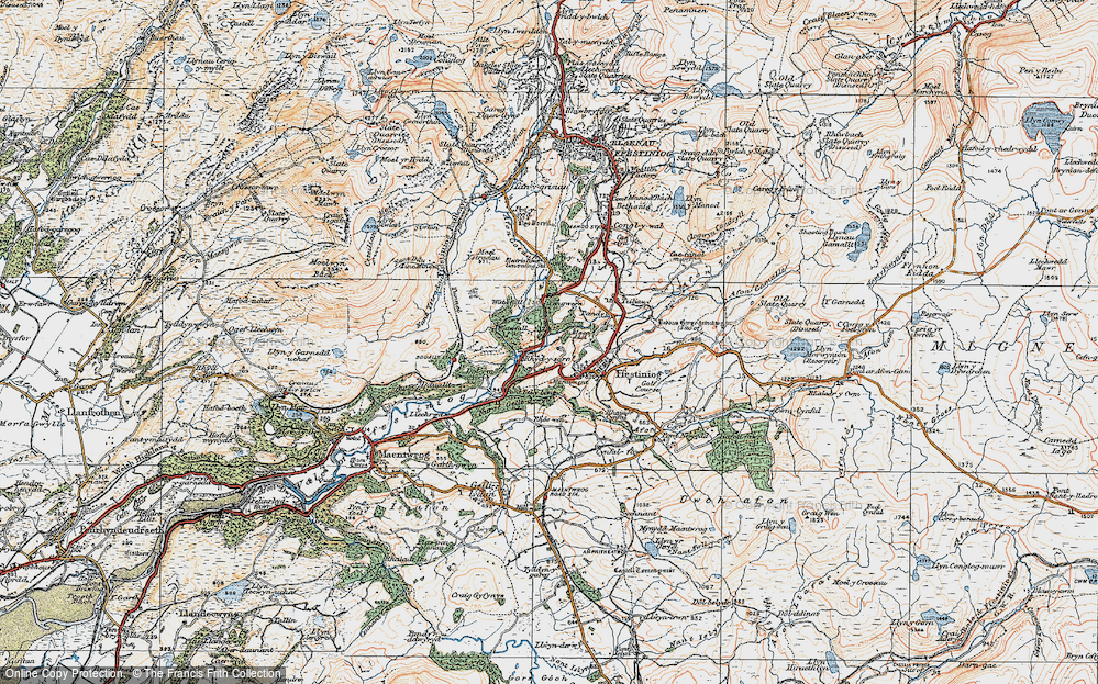 Old Map of Historic Map covering Afon Goedol in 1922