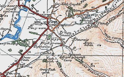 Old map of Ysguboriau in 1922