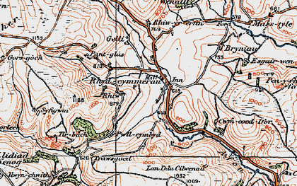 Old map of Afon Gorlech in 1923