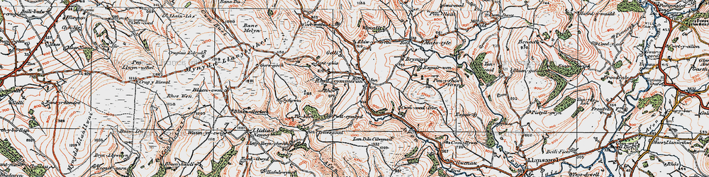 Old map of Afon Melinddwr in 1923