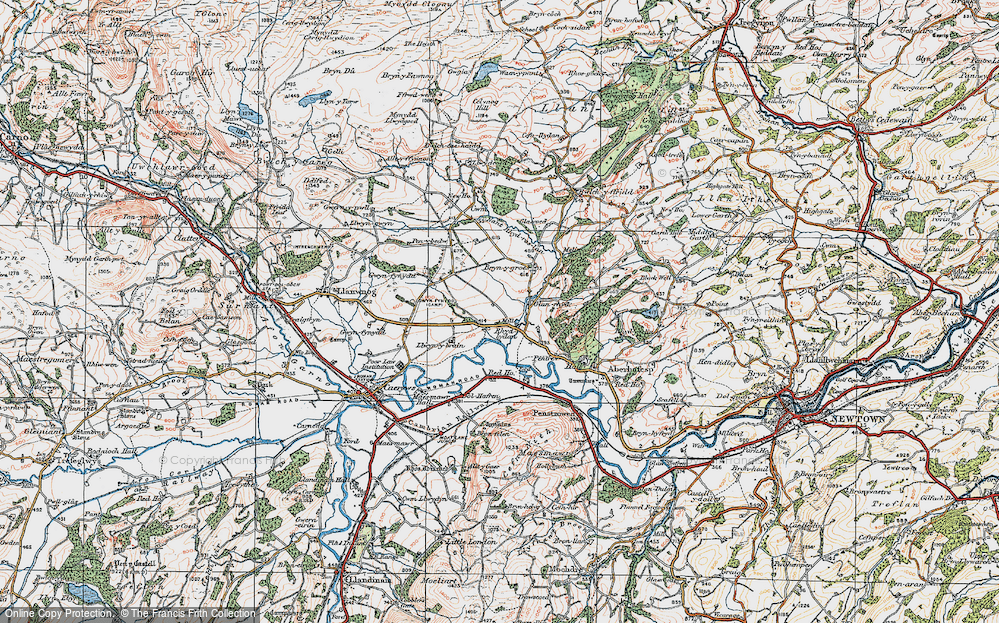 Old Map of Historic Map covering Aberhafesp in 1921
