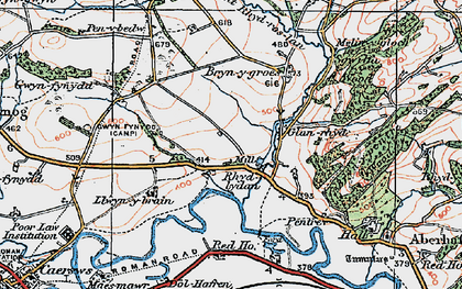 Old map of Aberhafesp in 1921